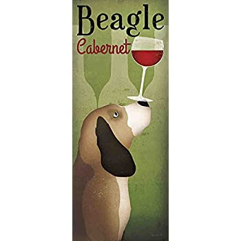 Beagle Winery Cabernet Ryan Fowler Vintage Dog Wine Ad Print Poster 8x20