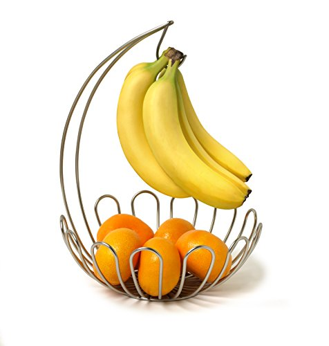 Review Spectrum Diversified Bloom Fruit Basket and Banana Holder, Small, Satin Nickel