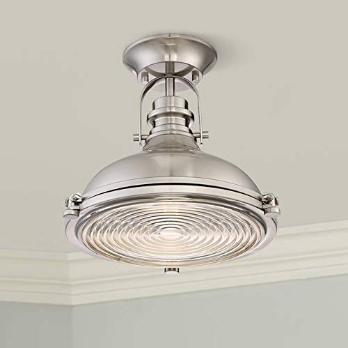 """Verndale Industrial Ceiling Light Semi Flush Mount Fixture Brushed Nickel Dome 11 3/4"""" Wide Clear Ribbed Glass for Bedroom Kitchen Living Room Hallway Bathroom - Possini Euro Design"""