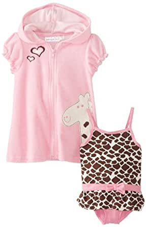 Wippette Baby Girls' Giraffe Swimsuit & Cover Up, Pink, 24 Months