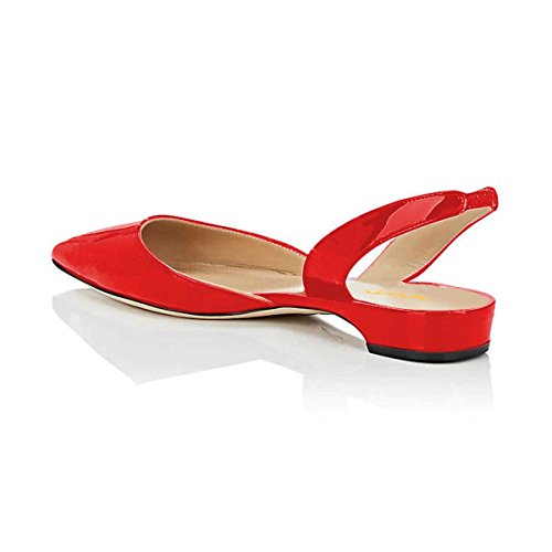D'Orsay Flat Shoes Sandals Heel Low Women Red Slide On Pointed Slip Toe Slingback XYD Dress qAwxvOWn1O