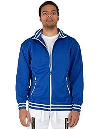 Gold Label Mens Long Sleeve Full Zip Royal Blue Tricot Track Jacket White Zipper Stripe Rib