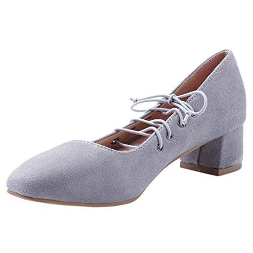 COOLCEPT Mujer Moda Cerrado Tacon Ancho Medio Court Bombas Zapatos con Cordones Grey