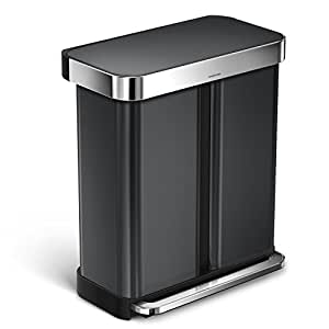 simplehuman Liner Rim Dual Bucket Rectangular Recycling Step Trash Can Pocket, 58 L /15 gallon, Black Stainless Steel