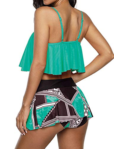 Anguang Bikini Swimsuit for Women High Waisted, Juniors Two Piece Bathing Suits Double Layers Ruffled Tankini with Shorts Green L