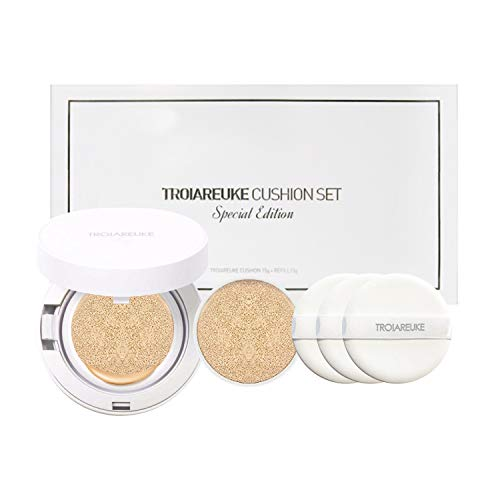TROIAREUKE Korean Skincare H+ Cushion Foundation + Refill, 21 Light Beige SPF50+ PA++++ - K Beauty Longwear Make-up BB CC Cream Compact for Dry Skin Anti-aging Whitening Gift Set
