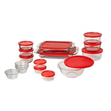 Pyrex Easy Grab Glass Bakeware and Food Storage Set, 28-Piece, Clear/Red
