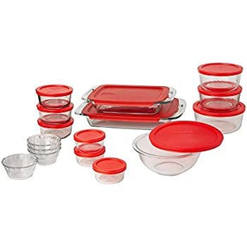 Pyrex Easy Grab Glass Bakeware and Food Storage Set (28-PieceBPA-free)  sc 1 st  Amazon.com : dinnerware storage containers - Pezcame.Com