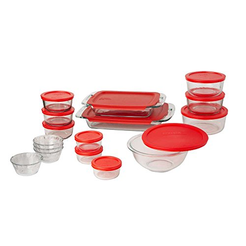 Pyrex Easy Grab Glass Bakeware and Food Storage Set (28-Piece, BPA-free) (Pyrex 10 Piece Storage Set With Lid)