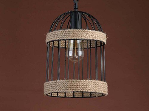 (Onfly Creative Birdcage Rope Iron Art Chandeliers Personality Uplight Pendant Lamp Restaurant/cafe/clothing Store Deco Hanging Lamp(without Bulb) (Color : Single head))