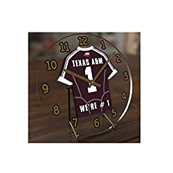 FanPlastic College Football USA - We're Number ONE American Football Desktop/Table Clocks - Support Your Team !!! (Texas A&M Aggies)