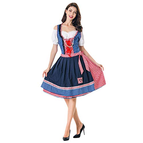 Mikilon Women's German Oktoberfest Dirndl Dress Bavarian Beer Maid Costume for Halloween Blue]()