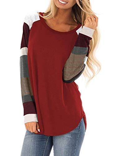Douremifa Crewneck Sweatshirt Long Tunic Tops for Women Striped Color Block Raglan Sleeve Jersey Shirts Fashion Pullovers for Casual Sports Red -