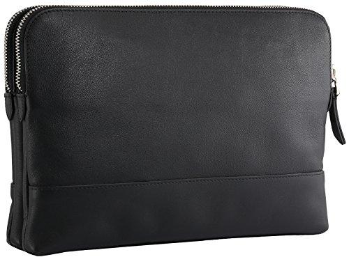StilGut - Borsa di pelle con tracolla aggiustabile e removibile Marlene, nero
