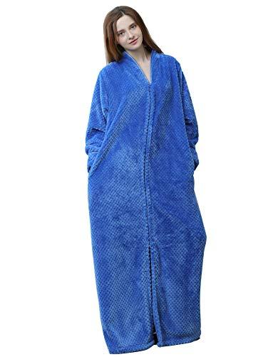 SEEU Women's Plush Soft Warm Fleece Bathrobe Robe Blue L