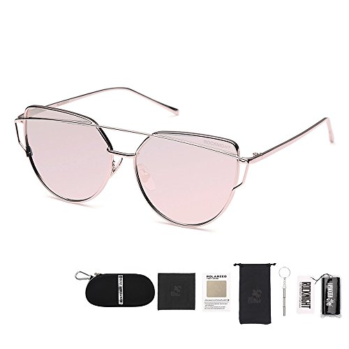 ROCKNIGHT Polarized Cat Eye Women Street Fashion Metal Full Frame Golden-Pink Flat Mirrored Lens UV Protection - Eyeglasses Little Rock