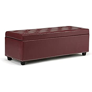 Amazon Com Red Flip Top Bicast Leather Storage Bench