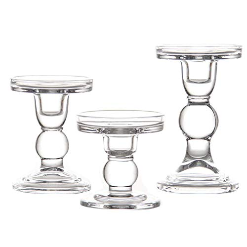 Clear Glass Candle Holder Set of 3,Elegant Pillar Taper & Tealight Candlesticks Set for Dinner Table Wedding Party Home Decor