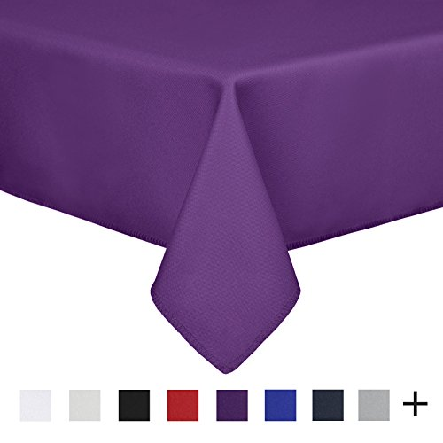 Remedios 60 x 126-inch Rectangle Polyester Tablecloth Table Cover - Wedding Restaurant Party Banquet Decoration, Purple 100% Polyester Banquet Tablecloth