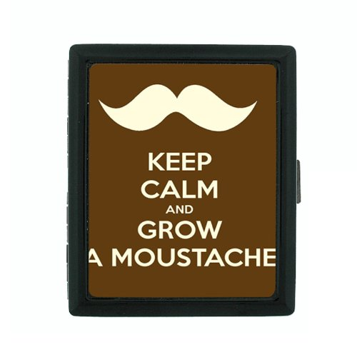 Metal Cigarette Case Holder Box Keep Calm and Grow a Moustache -