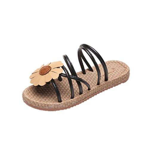 Transer Ladies Beach Flower Flat Shoes- Women Summer Sandals Comfy Slippers Casual Black M2JRTNeCwz