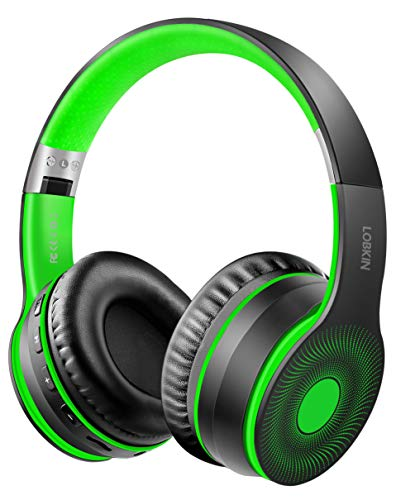 LOBKIN Bluetooth senza fili 5.0 Cuffie, supporto pieghevole e cablato collegato, cuffie auricolari Auricolari con microfono/TF, lettore MP3, radio FM per Android/telefono cellulare/tablet/PC/TV(verde)