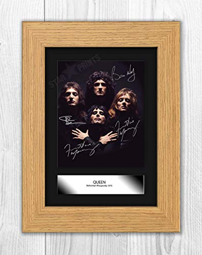 Engravia Digital Queen Bohemian Rhapsody Mounted Poster Signed Poster Signed Autograph Reproduction Photo A4 Print Unframed