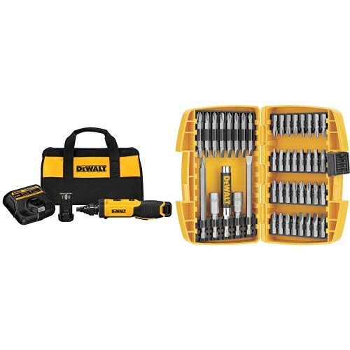 DEWALT DCF681N2 8V Max Gyroscopic Screwdriver with Conduit Reamer with DEWALT DW2166 45 Piece Screwdriving Set with Tough Case