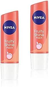 Nivea Lip Care Fruity Shine, Peach, 4.8g (Pack of 2)