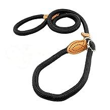 UEETEK 1.4CM Dog Slip Training Leash Collar Lead Nylon for Pets Training (Black)