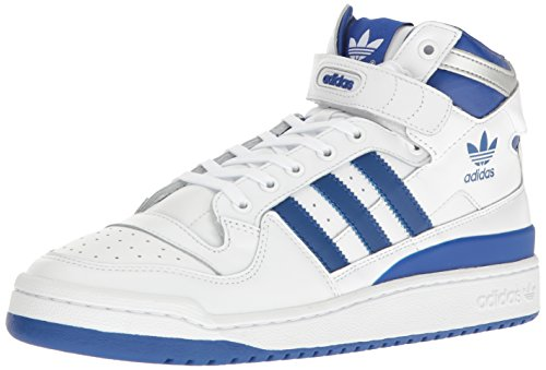 adidas Originals Men's Shoes | Forum Mid Refined Fashion Sneakers, White/Collegiate Royal/Silver Met, (9.5 M - Men Fashion Forum