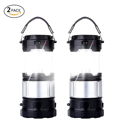 2 Pack Outdoor Camping Lamp, Portable Outdoor Rechargeable Solar LED Camping Light Lantern Handheld Flashlights with USB Charger, Perfect Hiking Fishing Emergency Lights - (2 Pack-Black) (Lantern Rechargeable Led)