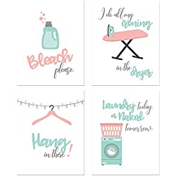 BigWig Prints Laundry Room Prints - Set of Four 8x10 Funny Wall Decor Photos
