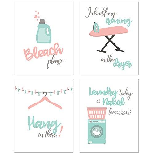 BigWig Prints Laundry Room Prints - Set of Four 8x10 Funny Wall Decor Photos