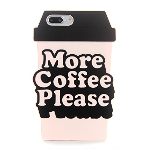 Soft Coffee Cup Shaped Case for iPhone 7Plus 7+ 8+ 8Plus Large Black and White Rubberized Silicone Fun Unique Special Cool High Fashion Protective Shockproof Gift Boys Men Teens Girls ()