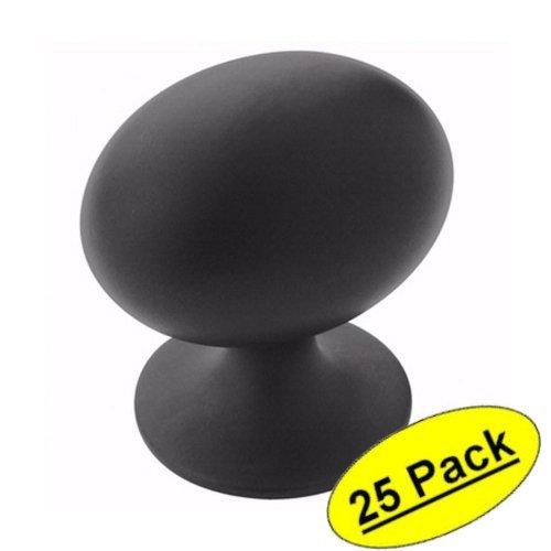 Amerock BP53018-FB Flat Black Cabinet Hardware Oval Knob - Length 1-3/8