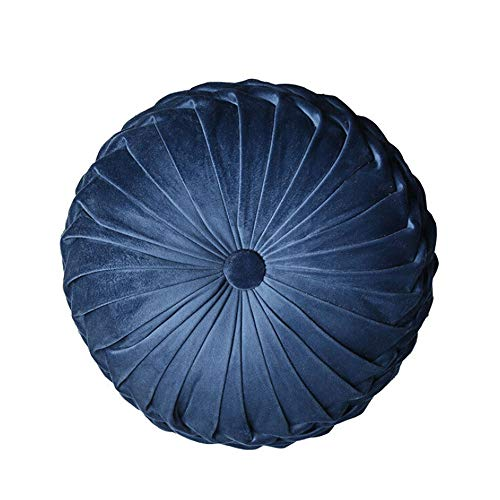 Gentlecarin Round Filled Cushion,Velvet Cushions,Pleated Round Pillow, Scatter Cushion Home Decorative for Home Sofa Chair Bed Car Decor