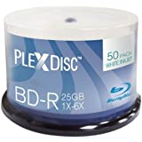 PlexDisc 633-214 25 GB 6x Blu-ray White Inkjet Printable Single Layer Recordable Disc BD-R, 50-Disc Spindle