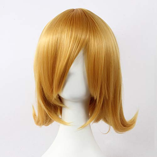HOOLAZA Light Brown Medium Curly Wig Kagamine Rin for the Halloween Party Cosplay -