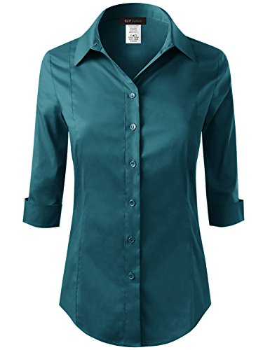 ELF FASHION Roll up 3/4 Sleeve Button Down Shirt for Womens Made in USA (Size S~3XL) Teal M by ELF FASHION