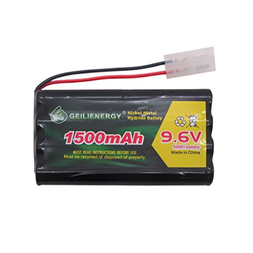 GEILIENERGY NiMH Battery Pack 9.6V 1500mAh High Capacity Rechargeable RC Battery with Standard Tamiya Connector for RC Car, Robots, Security (1 Pack)