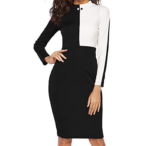 Bodycon Dress Colorblock Knee-Length Skirt Long Sleeve Mini Dress(Black,L) ()