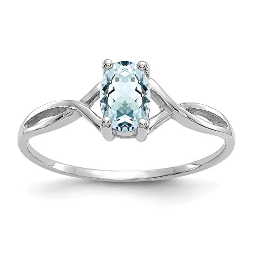 14k White Gold Blue Aquamarine Birthstone Band Ring Size 7.00 March Oval Fine Jewelry Gifts For Women For Her