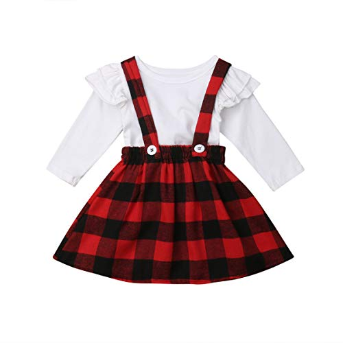Toddler Baby Girl Infant Plain T Shirts Plaid Overall Skirt Set Cotton Outfits (White+Red, 3-4T)