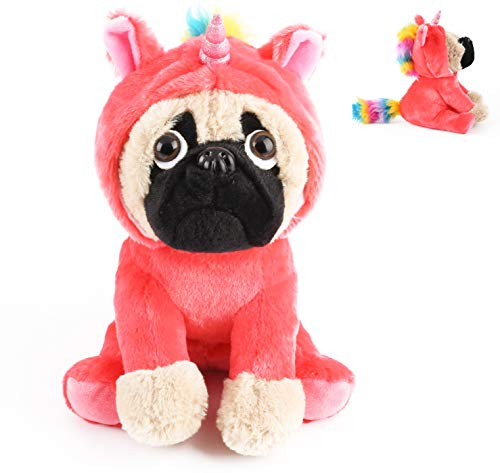 Joy Amigo Cute Pug Stuffed Animal Pugicorn Dog Dressed as Hot Pink Unicorn | Plush Soft Puppy Toy in Costume with Spark Horn Rainbow Mane and Tail | Great Gift -