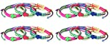 Colorful Rainbow Braided Cord Bracelet with Assorted Color Cross, One Size, Pack of 12