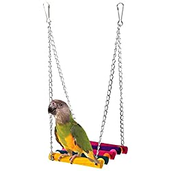 Monkeybrother Pet Bird Parrot Budgie Cockatiel Parakeet Cage Hammock Swing Toy Hanging Toy Ladder Bird Toy