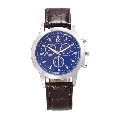 Opino New Men Fashion Synthetic Leather Band Crystal Analog Quartz Wrist Watch Bracelet Bangle (Quartz Bangle Watch Bracelet)