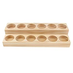 Baoblaze Handmade Wooden 2 Tiers Essential Oil Displaying Storage Organizer Rack Stand Holder for 12pcs (15ml) Roller Bottles/Dropper Bottles/Sprayer Vials