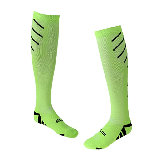 FLAMEER 1 Pair Compression Socks for Women and Men Athletic Running Socks for Travel Running Sports Socks Green and Black IxFLBCL2